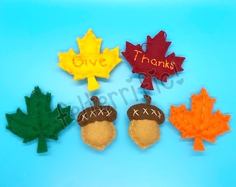 Handmade Felt Mini Give Thanks Leaf Acorn Ornaments