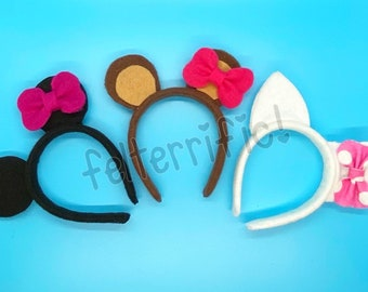 """DOLL SIZE Animal Ear Headbands- Fits Most 18"""" Dolls Cat Mouse Fox Tiger"""