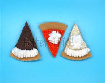 Handmade Felt Thanksgiving Pie Mini Ornaments