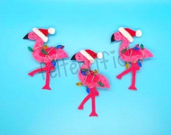 Handmade Felt Mini Flamingo Santa Ornaments