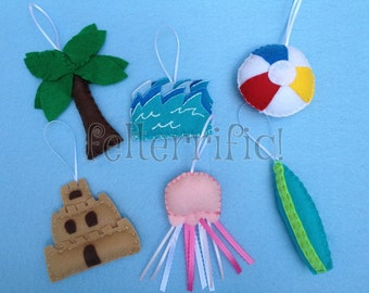 Set of 6 Handmade Day at the Beach Ornaments