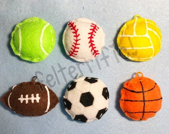1 Dozen Handmade Felt Mini Sports Ball Ornaments