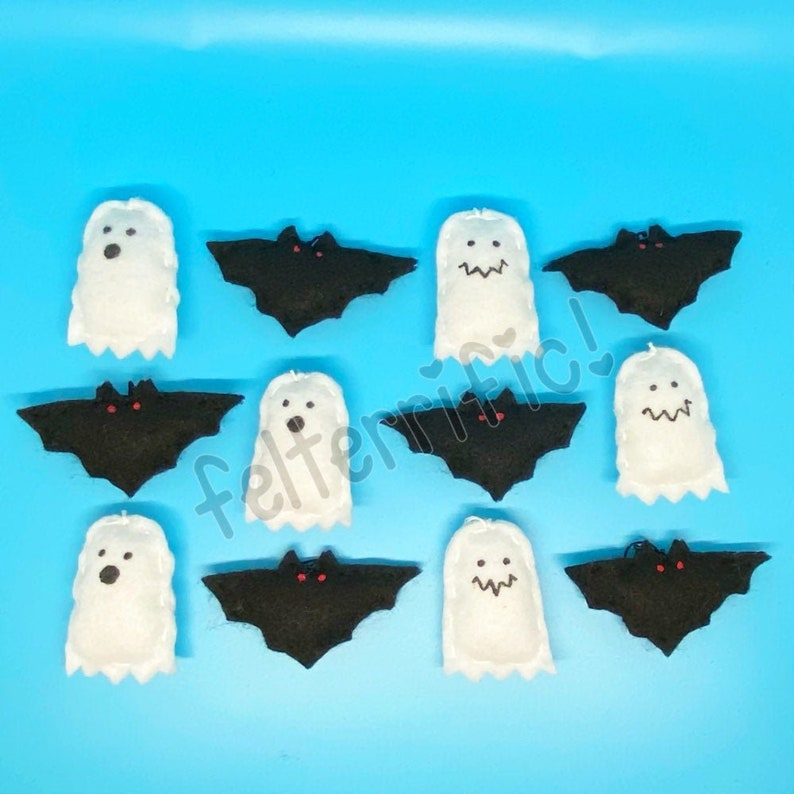 Handmade Felt Mini Halloween Bat Ghost Ornaments image 0
