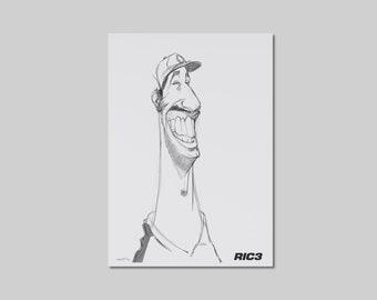 NEW! Daniel Ricciardo Caricature Sketch Drawing - F1 McLaren Driver