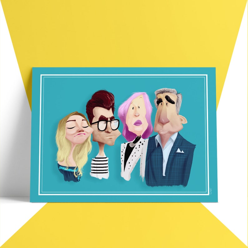 SCHITT'S CREEK  Hand Drawn Caricature  Poster Art Print image 0