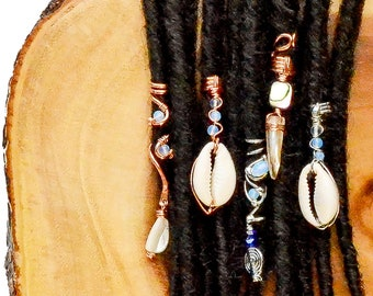 Dreadlock Jewelry Hair Rings Hair Accessories Loc Jewelry Crystal Beads Moonstone Loc Jewelry Set Hair Jewelry for Braids Loc Coils
