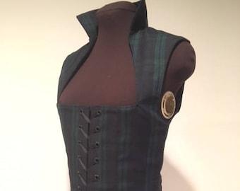 5dd95287a0 Blackwatch Tartan Plaid Scottish Irish Celtic Renaissance Bodice for  Costume Dress or Cosplay sample is ready to ship now!custom available!!