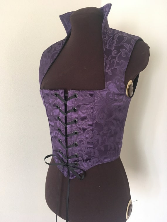 Dark Purple Brocade  Renaissance Bodice for costume or cosplay made for you!