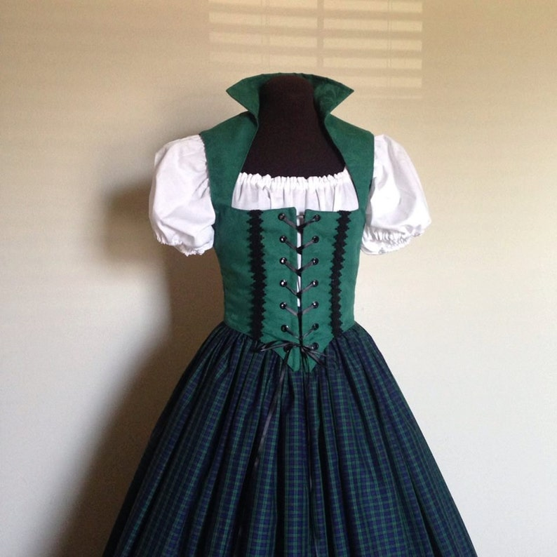 7d5582ddd7d Green and Blue Scottish Irish Celtic Renaissance Dress Bodice