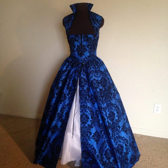 Royal Blue And Black Fantasy Renaissance Over Gown Dress Made Etsy
