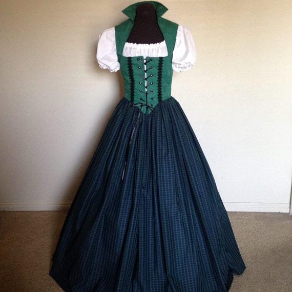 Green and Blue Scottish Irish Celtic Renaissance Dress Bodice | Etsy