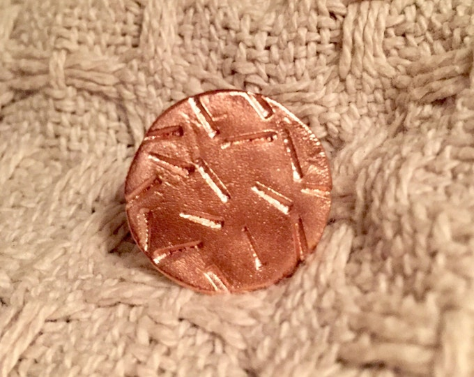 Big round copper hand stamped ring #1