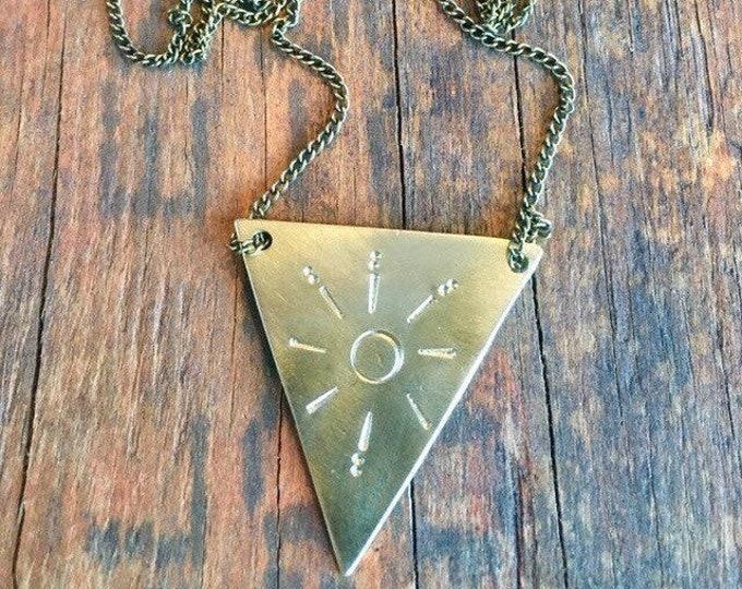 The sun - brass handstamped necklace