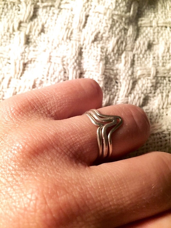 "Sterling silver ""Bump in the road #2"" stacking rings"