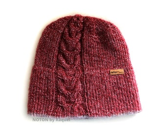 Burgundy Merino Winter Knitted Beanie Double Brim Hat for Woman