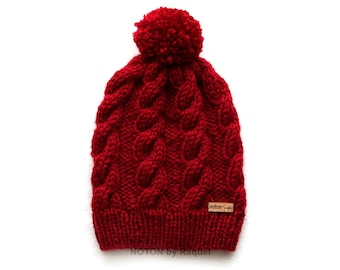 Women Slouchy Beanie Knit Pom Pom Hat   Several Colors