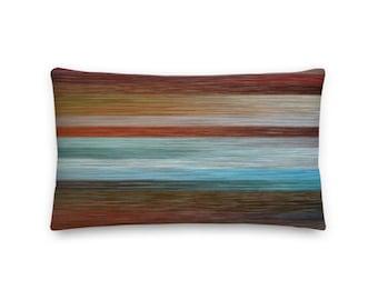 Brown and Blue Stripes Rectangular Throw Pillow - 20x12