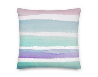 Pastel Watercolor Stripes Square Throw Pillow - 18x18