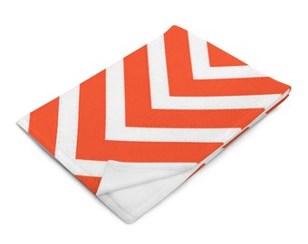 Orange and White Chevron Throw Blanket