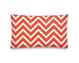 Orange and White Chevron Rectangular Throw Pillow - 20x12