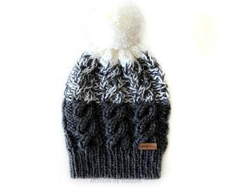 Grey and White Pom Pom Slouchy Knit Beanie Hat for Woman
