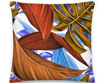 Brown and Blue Tropical Leaves Square Throw Pillow - 22x22