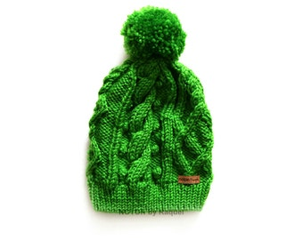 Green Cable Beanie for Woman