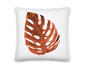 Brown Palm Tree Leaf Square Throw Pillow - 18x18