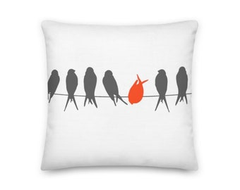 Grey and Orange Birds on a Wire Squared Throw Pillow - 18x18