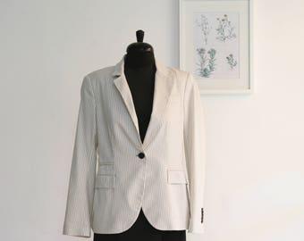 2cde29ae SALE /Women white and cream striped jacket, Long sleeve elegant Jacket,  classic blazer, white jacket ladies