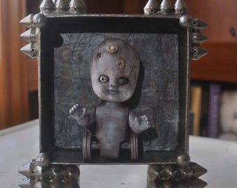 OOAK Mixed Media Assemblage. Baby Wheeler. Altered Art Doll