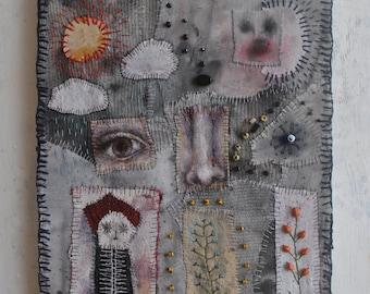 Original Art Mixed Media Textile Collage On Canvas
