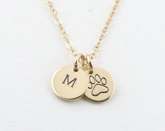 Puppy Love Paw Necklace Personalized Pet Initial Necklace, Tiny Rose Gold Disc, Gift for Dog Mom, Gift for Her, Personalized Pet Jewelry