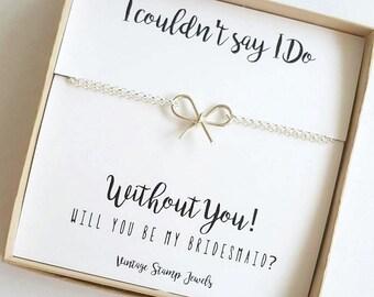 Bridesmaid Gift,Silver Knot Bracelet, Silver Bracelet,Tie the Knot gift, Will you be my bridesmaid, Wedding JewelryGift under 30