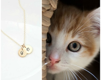 Cat Necklace Fishbowl Necklace Cat Jewelry Cat Pendant Necklace Cat Charm Necklace Cat Gift Personalized Initial Necklace Bridesmaid Jewelry
