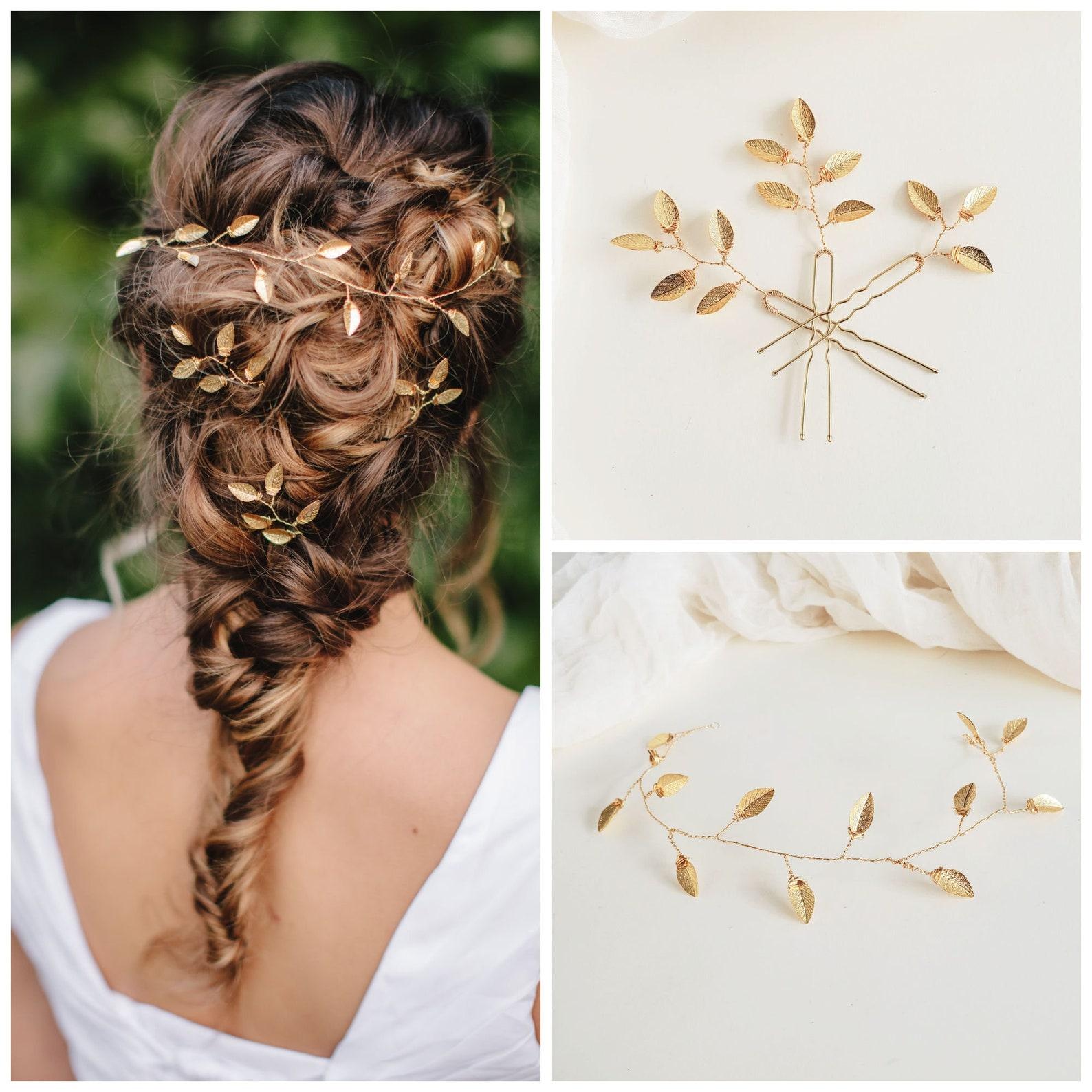 Wedding Hair Accessories Ideas for Boho Chic Brides, Gold Leaf Vine Hair Pin