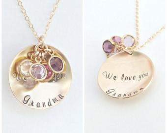 Grandma Gift, Birthstone Mom Necklace, Mothers Jewelry, Grandma Necklace, Personalized Necklace, Gold Disc Necklace, Personalized Jewelry