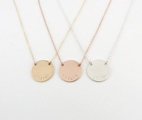 Items Similar To Gold Name Disc Personalized Jewelry