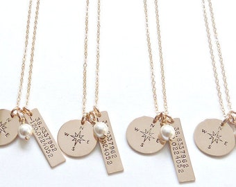Custom Coordinates Jewelry, Disc Necklace, Custom Latitude and Longitude Necklace, Gift for her,Gift for Girlfriend,Personalized Gift