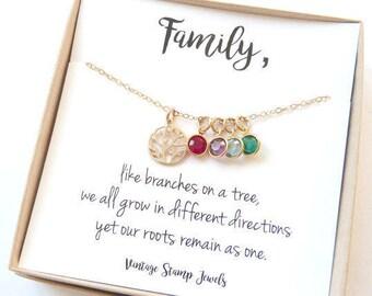 Grandma Gift Personalized Gift Family Tree Necklace, Birthstone Jewelry, Grandma Gift, Children's Birthstones, Gift for her,
