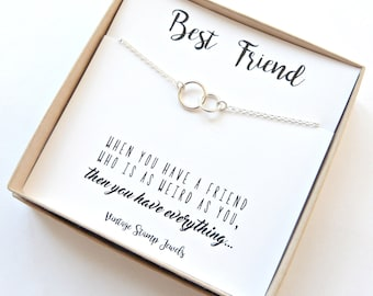 Best Friend Gift, Gift for her, Best Friend Necklace, Eternity Necklace ,friendship jewelry ,Gift Box, Silver circle Necklace,
