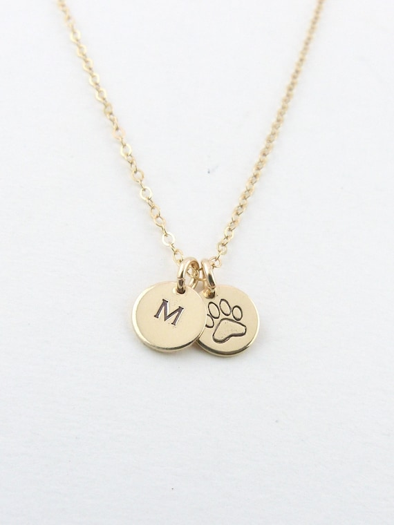 Puppy Love Paw Print Necklace Gift for Dog Mom Personalized Pet Initial Necklace Initial disc Necklace Gift for Her Pet Jewelry paw necklace