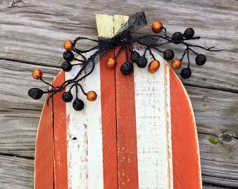Halloween Decor Wood Pumpkin Fall Decor Autumn  Decor Reclaimed Wood Pumpkin Thanksgiving Decor Wooden Pumpkin Door Hanger Porch Decoration