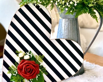 """Valentine Decor 13"""" Thin Wood Heart with Black and White Stripe"""