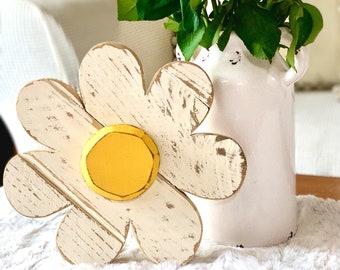 Summer Decor Wood Flower White