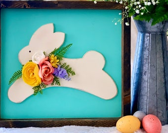 Spring Decor Wood Bunny Sign with Floral Design