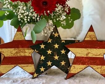 Patriotic Decor Fourth of July Wood Stars