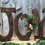Christmas Decor Wood Letters Joy Natural Wood Christmas Decoration Mantle Decor Christmas Gift Rustic Wooden Letters Holiday Table Decor Art