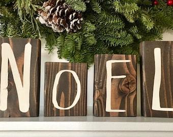 Christmas Decor Wood Noel Letter Blocks Christmas Decoration Etsy