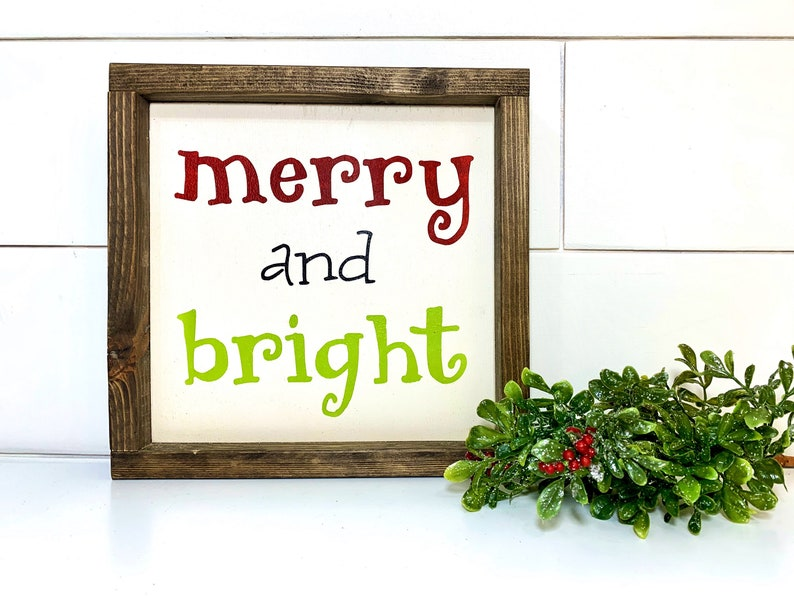 Christmas Decor Wood Merry and Bright Farmhouse Wood Sign to image 0
